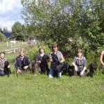 Sally med sina valpar. Från vänster ser vi Elivs, Rakel, Hugo, Runa, mamma Sally, Wilma och Melwin.